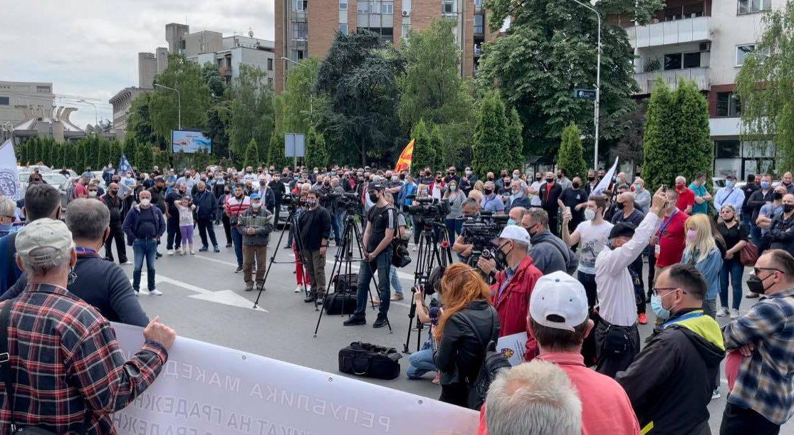 """Протест пред Влада на повеќе синдикати под мотото """"За ред, за правда, за дисциплина"""""""
